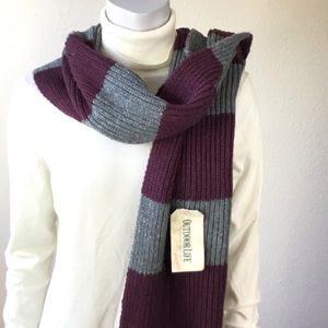 Outdoor Life Mens Winter Scarf Striped Gray Maroon